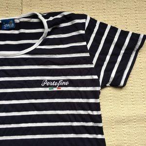 Vintage Italian Portofino Striped T Shirt